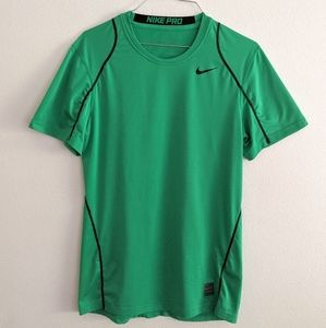 Nike Men's Pro Fitted Short Sleeve Green Shirt